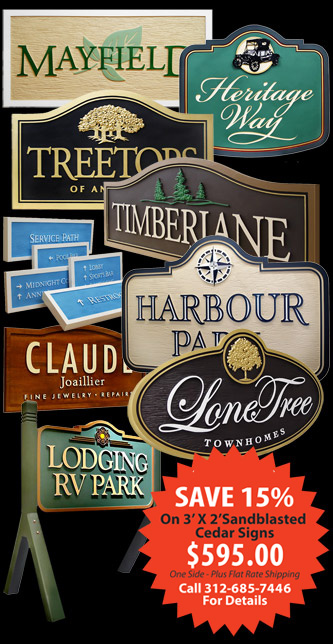 custom carved wood signs of chicago Strata signmakers